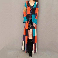 Free Shipping Fashion Long Floor Length Knitted Sweater Coat Cardigan For Women Plaid Geometrical Outerwear With Tassel Trench