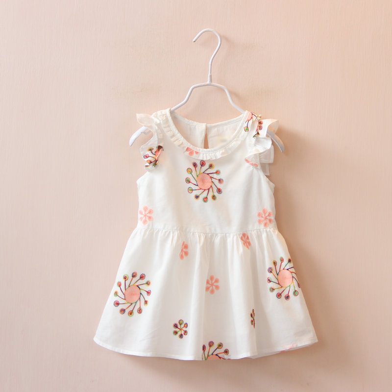100% cotton girls dresses summer 2016 nova baby girls princess dress fly sleeve kids clothes suit 2-7T white reine des neiges