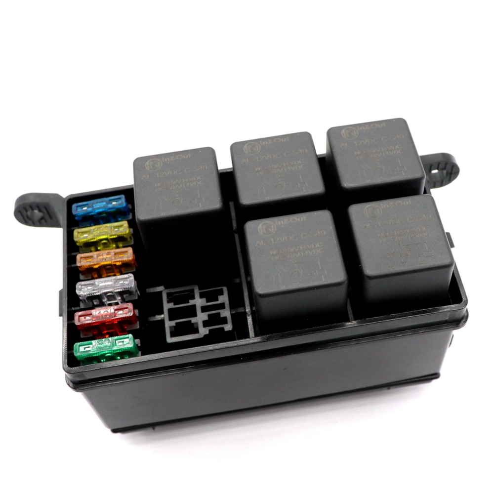 small resolution of 6 way car fuse holder box with spade terminals 6pcs standard fuses relays 12vdc