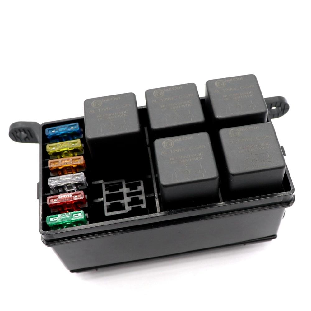 6 way car fuse holder box with spade terminals 6pcs standard fuses relays 12vdc [ 1000 x 1000 Pixel ]