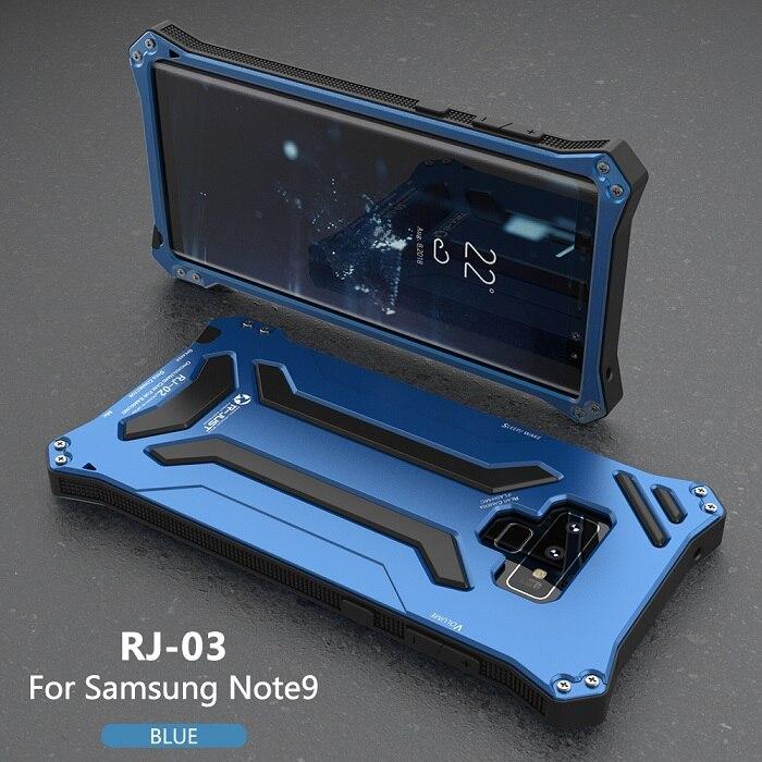 """Противоударный грязеотталкивающий Алюминиевый Чехол Gundam Armor чехол """"Железный человек"""" для samsung Galaxy Note 9 чехол для телефона защитный чехол кожа сумка - Цвет: Blue"""