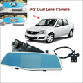 "For renault logan Car DVR Rearview Mirror Video Recorder FHD 1080P Dual Camera Novatek 96655 5"" IPS Screen Car Parking DVR"
