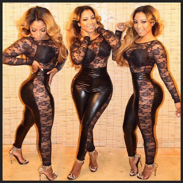 b76db8c607d 2016 elegant plus size Women Bodysuit Rompers Womens Jumpsuit Long sleeve Full  Length Black Leather Sexy Bodycon Jumpsuits on Aliexpress.com