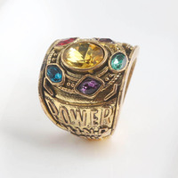 RJ Hot Sale Gold Thanos Rings Infinite Power Gauntlet Crystal Ring Avengers 3 Infinity War Cosplay Anillo Women Men Keyring Gift 2