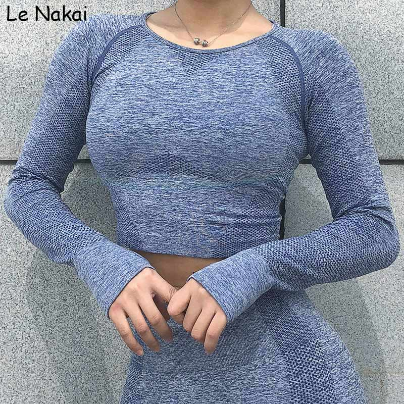 Vital seamless yoga top shirt workout gym crop top long sleeves yoga shirts seamless women shirts althletic activewear