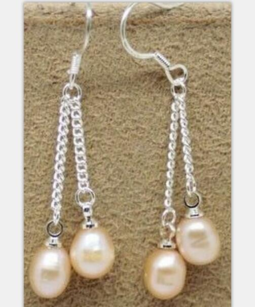 women Jewelry Earring light purple Pearl Dangle chain Hook Earring Natural Freshwater pearl