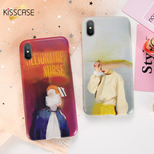 KISSCASE Fashion Oil Painting Cases For iPhone 6 6S 7 8 Plus X Soft TPU Abstract Patterned Coques