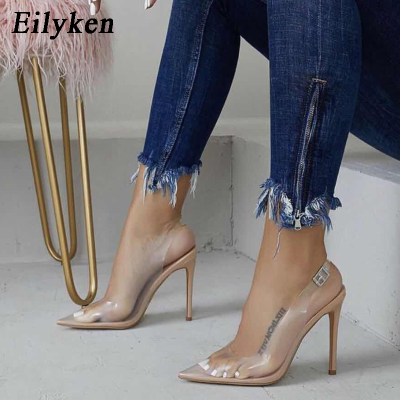 Eilyken 2019 Autumn Sexy Pointed-toed PVC Transparent High-Heeled Shoes Fashion Buckle Strap Ladies Party Shoes Nightclub Pumps