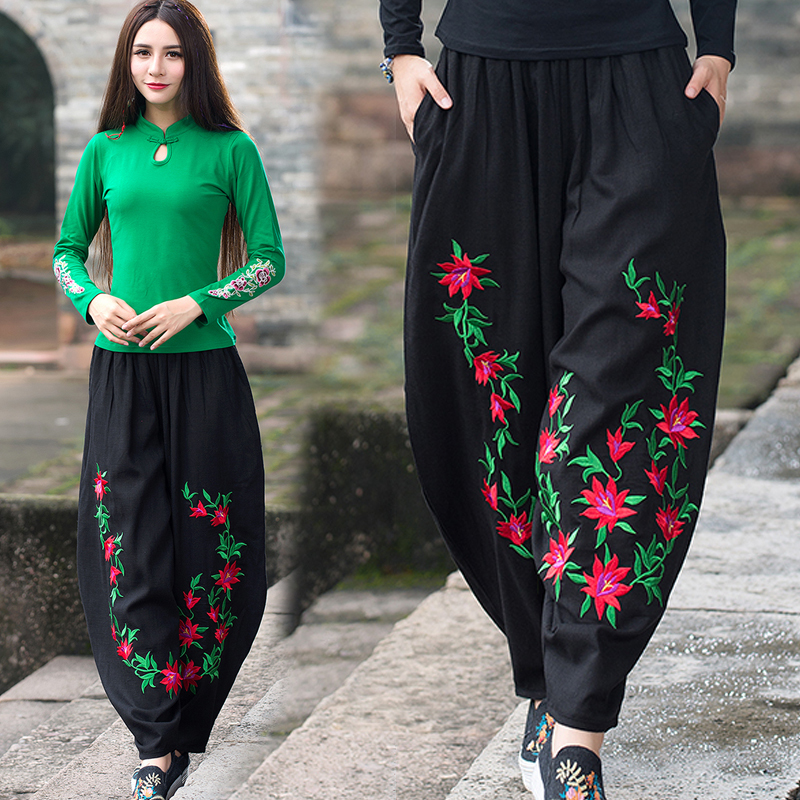 Women Floral Embroidery   Wide     Leg     Pants   2019 Summer Casual Elastic Waist   Pants   Fashion Trousers Loose Pantalones Y104