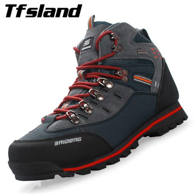 7fe452a594 Homens de Couro À Prova D' Água de Calçados esportivos Respirável Masculino  Bota de Trekking