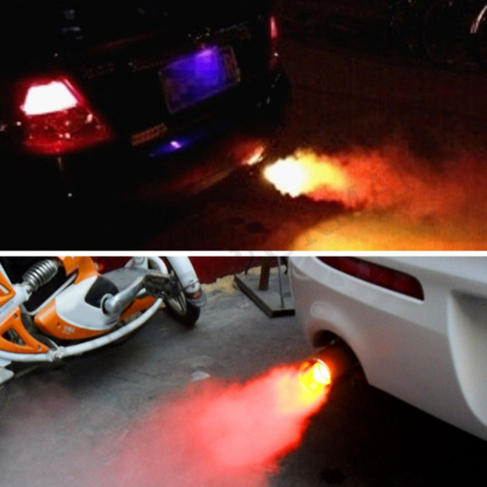 MAHAQI Universal car 70MM tail throat red Led fire breathing exhaust pipe stainless steel motorcycle silencer Exhaust Muffler Pi