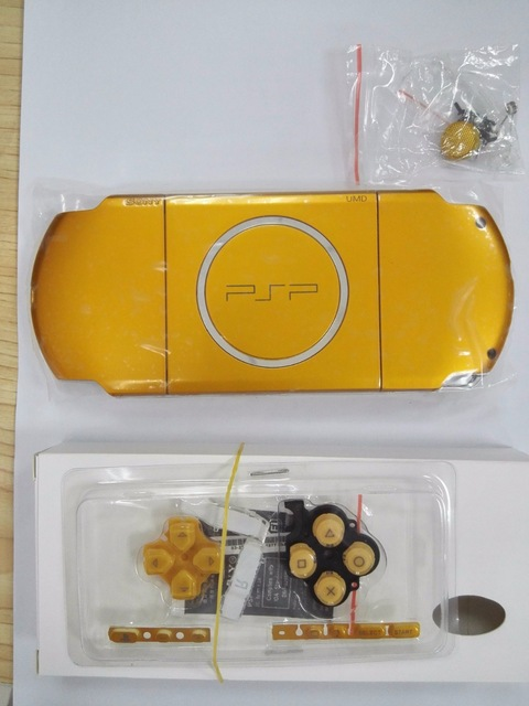 Yellow Gold Case for PSP3000 PSP 3000 Game Console shell with Buttons kit