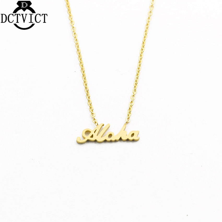 GORGEOUS TALE  10pcs/lot 2017 Body Jewellery Gold Plated Chunky Chokers Hawaiian Welcome Aloha Necklace Letter Charm Jewelry