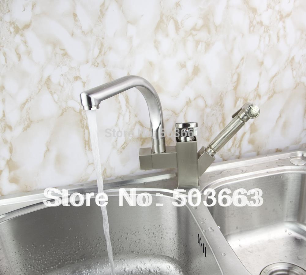 Wholesale Pull Out And Swivel Double Water Spout Kitchen Sink Brass Faucet Mixer Tap Crane Brushed Nickel S-116 brushed nickel double handles spray stream brass water kitchen swivel spout pull out vessel sink deck mounted mixer tap faucet