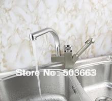 Оптовая продажа вытащить и поворотный двойной вода носик кухонный мойка латунь кран смесителя кран Матовый никель S-116