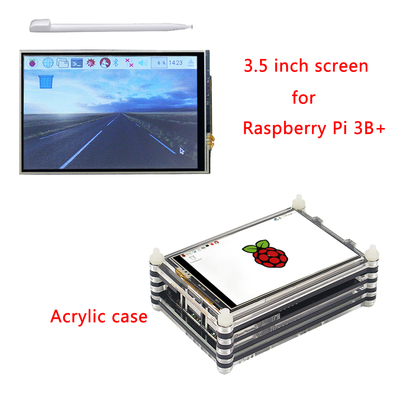 Newest Raspberry Pi 3 Model B Plus 3.5 inch Touchscreen LCD Display + 9 Layers Acrylic Case kit Only for Raspberry Pi 3 Model B+ rp sma male to rp sma female adapter right angle rf connector