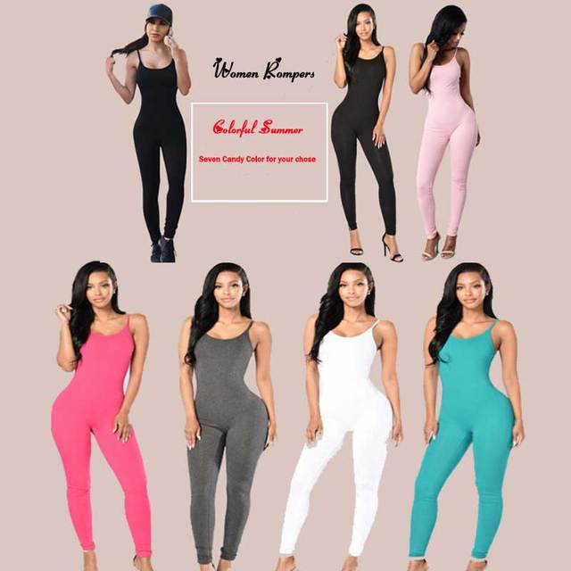 b95f507d56d 2016 Solid Sexy Strap Backless Bodycon Bandage Long Pants Summer Basic Jumpsuit  Women Sexy Rompers One