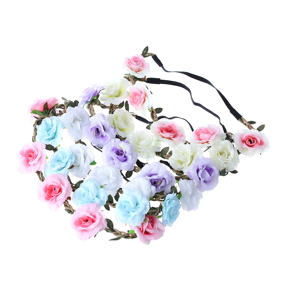 1 PC Bohemian Rose Flowers Hair Band Wedding Bride Floral Garland Summer Flower Headband Crown Wreath Tiara Hair Accessories metting joura vintage bohemian ethnic tribal flower print stone handmade elastic headband hair band design hair accessories