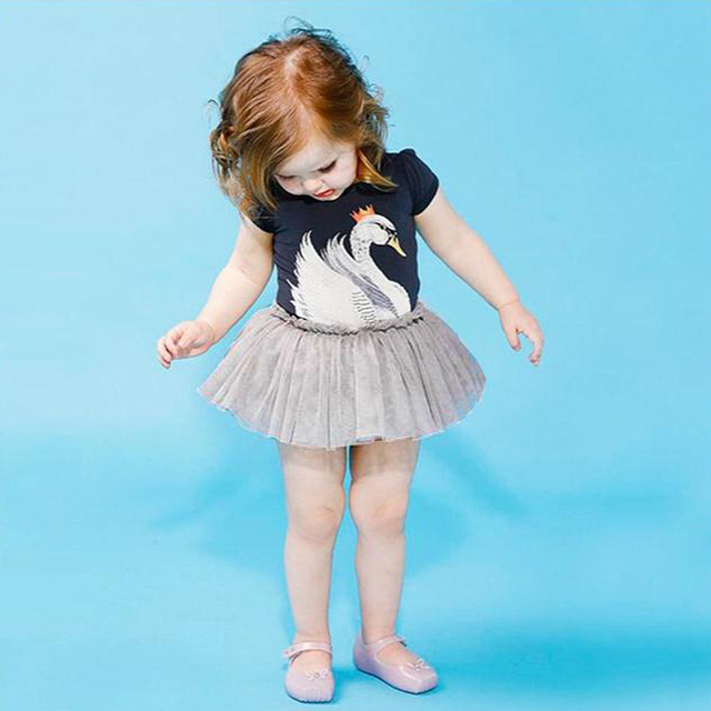 2017 New Fashion Infant Baby Girl Newborn Kids Swan Bodysuit Dress Hot Toddler Dresses Outfit Clothing Wholesale 0-24M Clothes