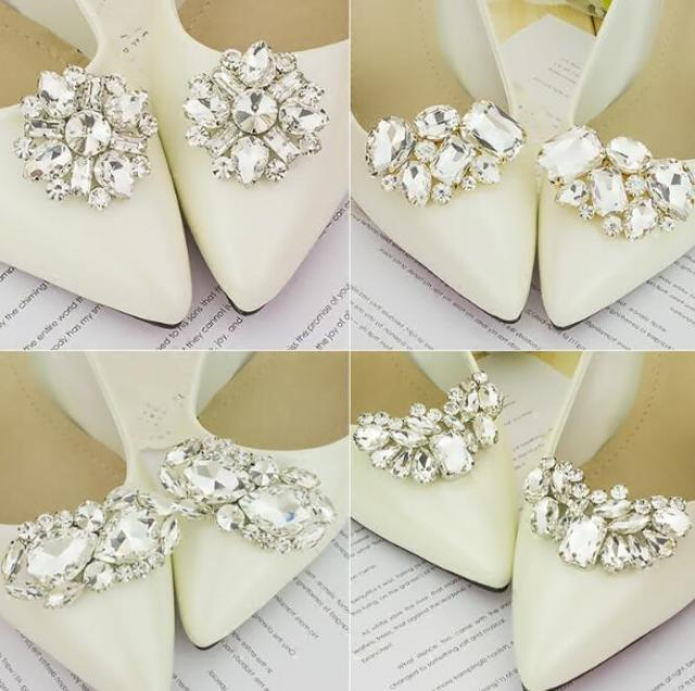 cb5df36ab8 1 Pair Women Rhinestone Shoes Buckle Full Crystal Shoe Clips Accessories  Bridal Wedding Shoes Decorations