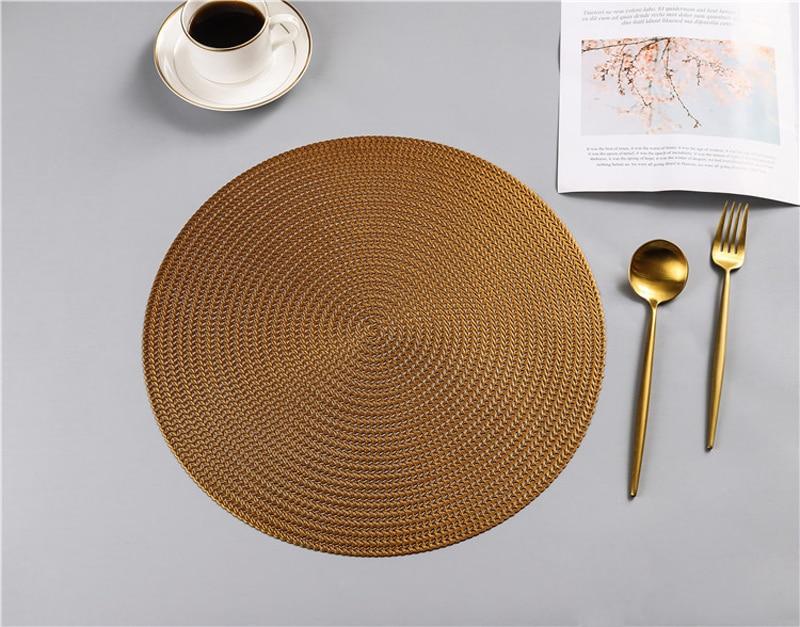38CM Hotel Restaurant Round PVC Placemat Nordic Anti-scalding Insulation Table Mat Steak Pad (18)
