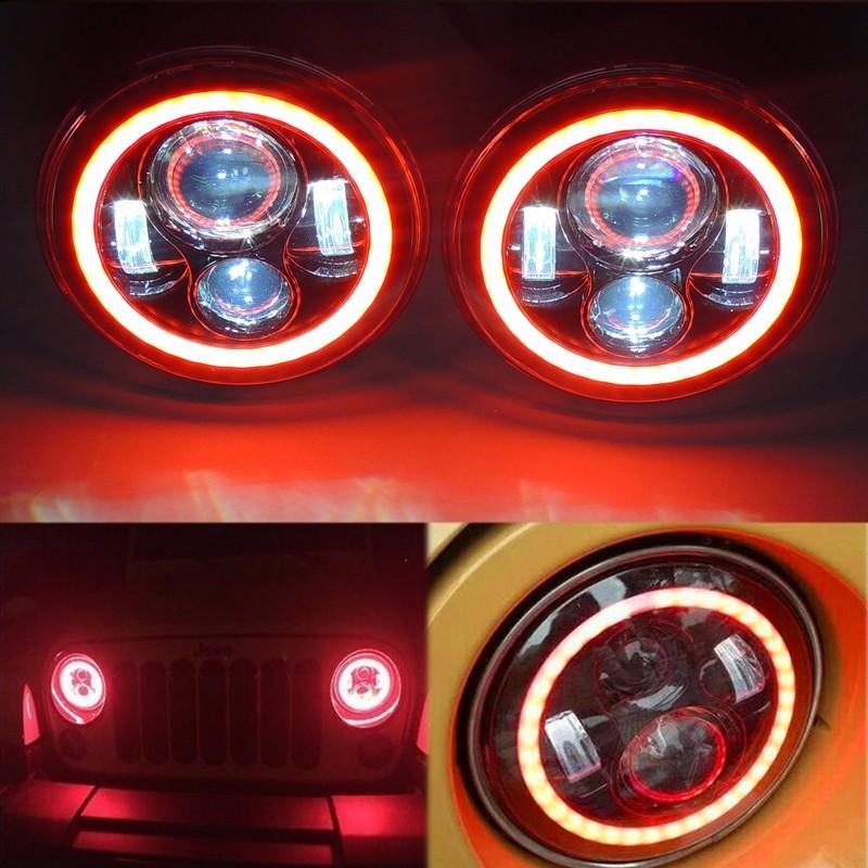 7 inch DRL Angel Eyes 60W LED Headlight+4 inch 30W Halo Fog Light For Jeep Wrangler RED.j4g.j4pg