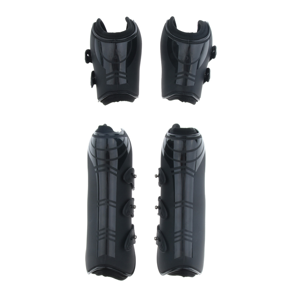2 Pairs Of Adjustable Horse Riding Legs Guard Boots Front & Hind Legs Wraps Back Tendon Universal Protective Gear