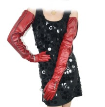 70cm(27.6) long mid invisible style real sheep leather evening opera gloves in red