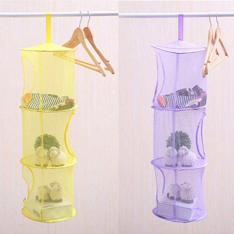 New Cylindrical Hanging Storage Net Bedroom Wall Door Closet Kids Toy Organizer Bag Home Baskets Hanging Basket Archiviazione