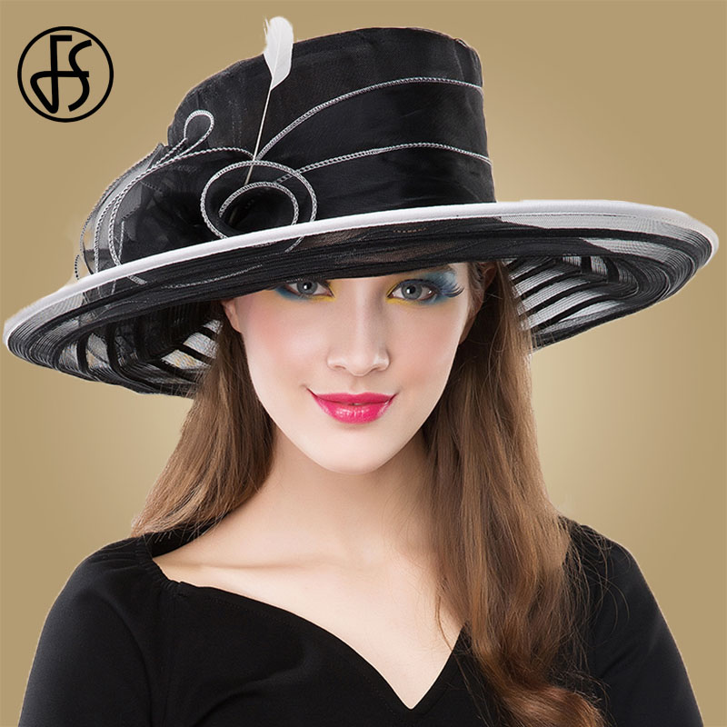 Fs Black Organza Church Hat Women Elegant 2018