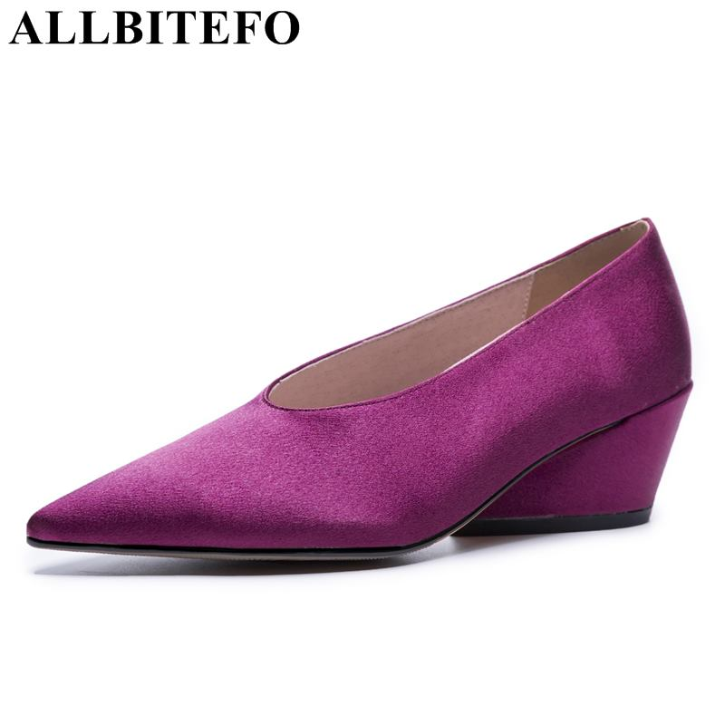 ALLBITEFO Special materials fashion sexy women pumps high heel shoes girls spring black rose red wedding