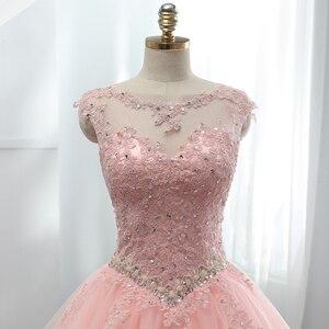 Image 5 - Fansmile Tulle Mariage Vestido De Noiva ลูกไม้สีชมพูชุดแต่งงาน 2020 PLUS ขนาดยาวรถไฟ Gowns แต่งงานชุดเจ้าสาว FSM 458T