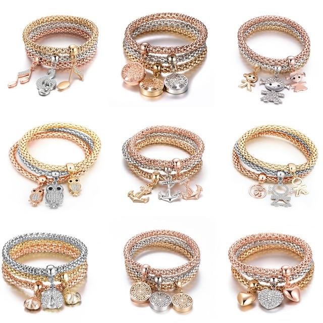 3Pcs Tree of Life Bracelet Popcorn Owl Heart Anchor Musical Note Charm Bracelets For Women Pulseria Feminina Boy & Girl Jewelry 5
