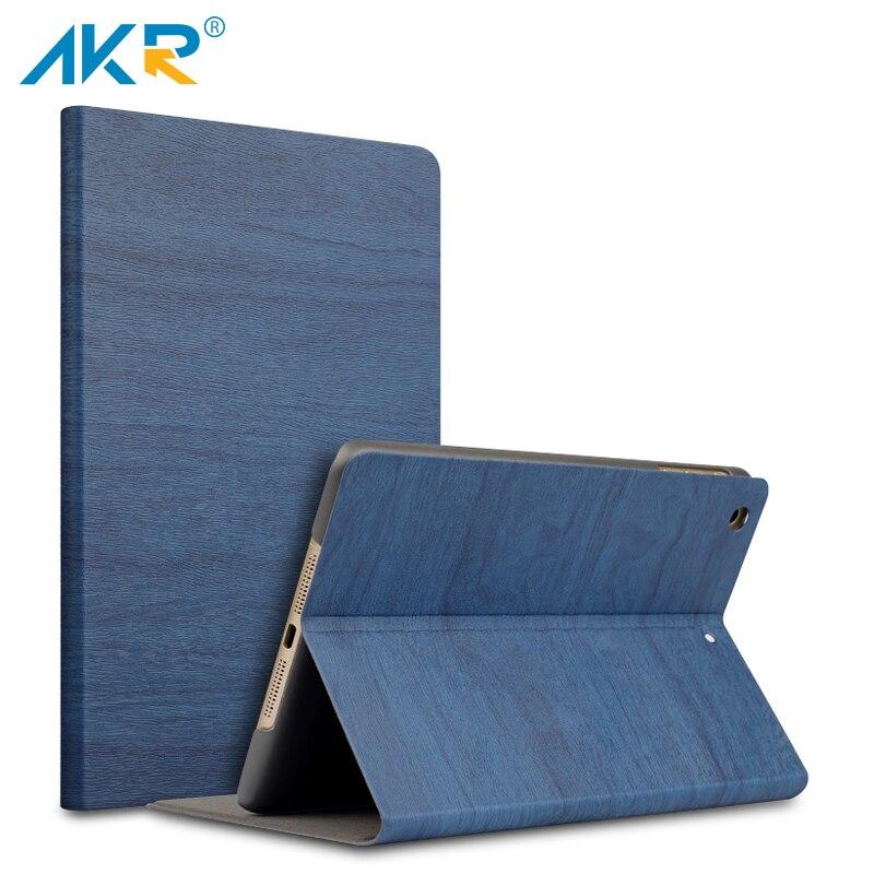 AKR PU Leather Stand Case for iPad mini 2 mini 3 case smart cover Sleep Wake Up Wood Grain+protector film