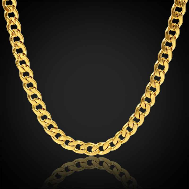 Chunky Long Necklace or Vintage Jewelry Gold Color Mens Stainless Steel Chain 12MM Men Chain Necklace , collier or