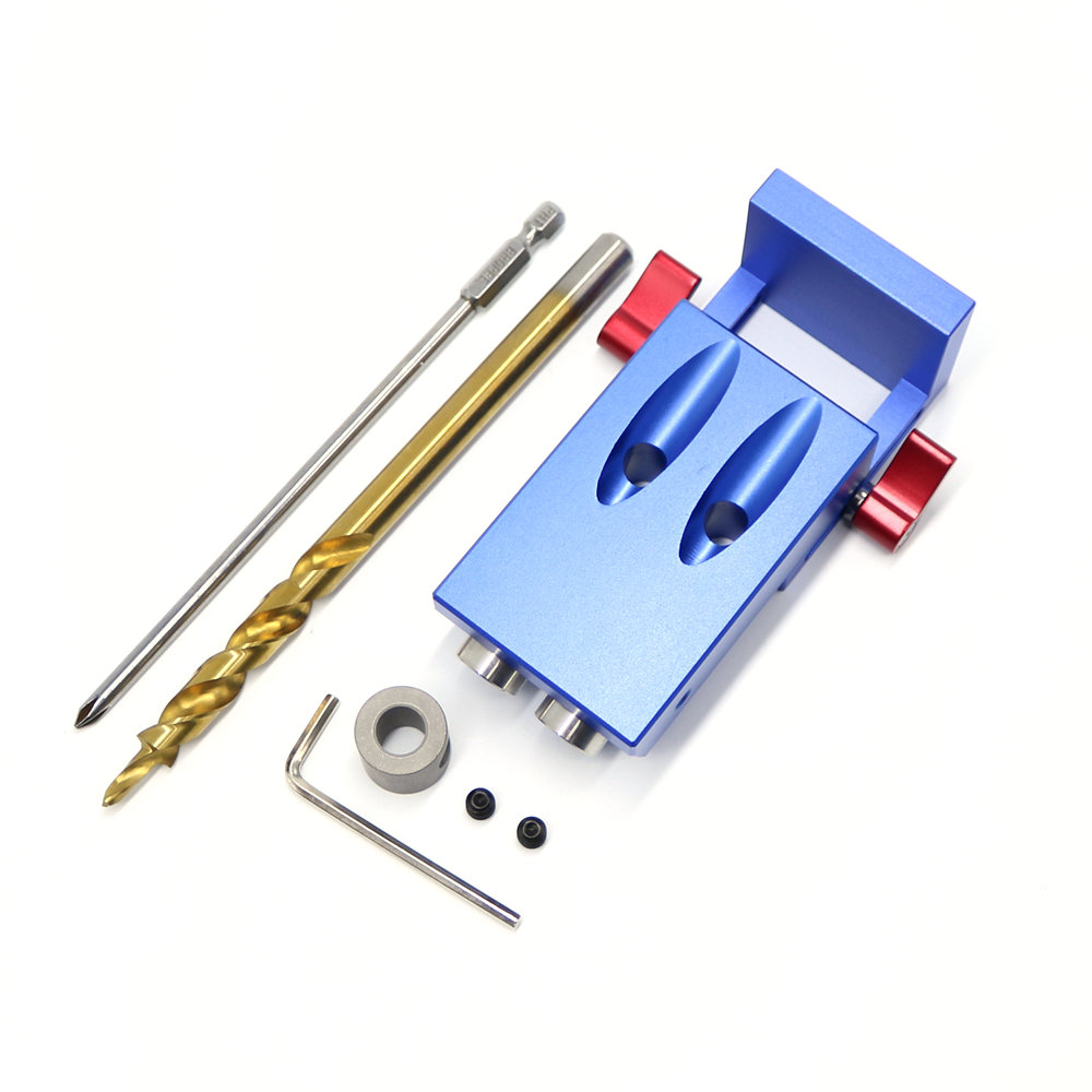 2018 New Mini Kreg Style Pocket Hole Jig Kit System For Wood Working & Joinery + Step Drill Bit & Accessories Wood Work Tool Set 1 4 hss hex twist step woodworking drills bits set for kreg pocket hole positioning drill jig guide 9 5mm