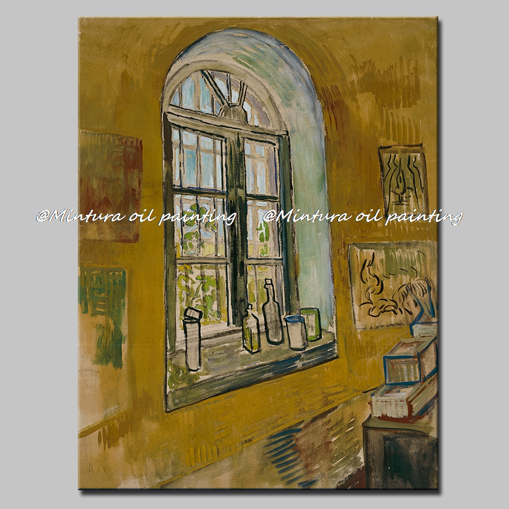 Free Shipping Vincent Van Gogh Painting St Remy Nursing Home Window Oil Painting Canvas Home Decoration Art Pictures Big Size
