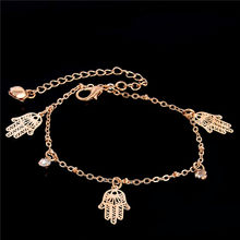 SHUANGR 2017 Trendy Hamsa Anklet Bracelet For Women Girl Flowers Foot Jewelry Fashion Gold Color Chian Beach Ankle Bracelets(China)