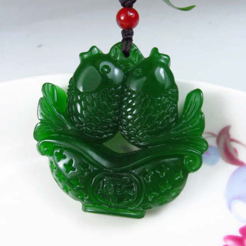 Aliexpress buy collectibles green jade hand carved auspicious aliexpress buy collectibles green jade hand carved auspicious double fish pendant amulet from reliable amulet amulet suppliers on online store 436392 aloadofball Images