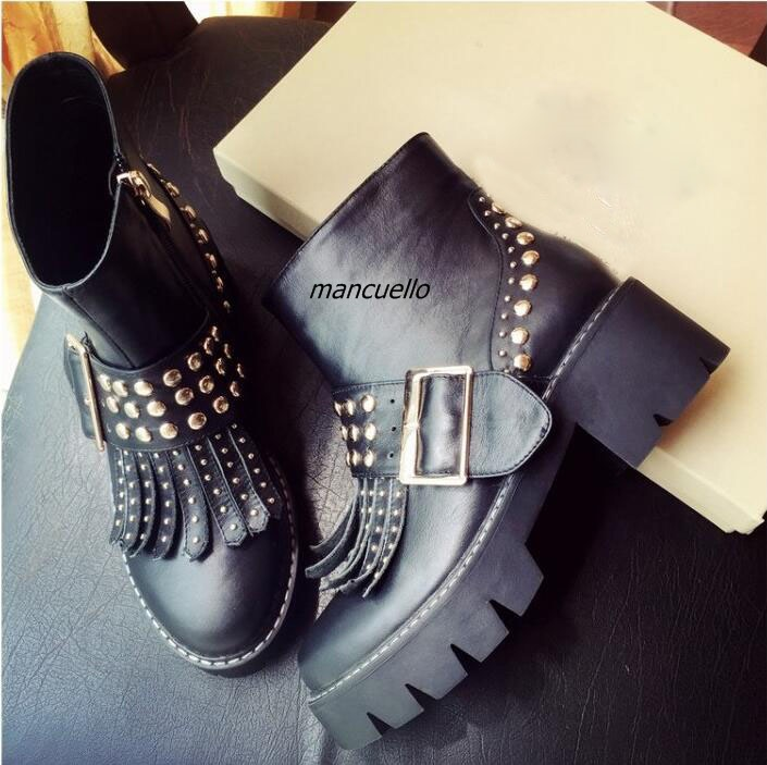 Stylish Black PU Leather Rivets Decorated Ankle Boots Women Fancy Buckle Fringe Decoration Block Heel Knight Boots Trend Shoes