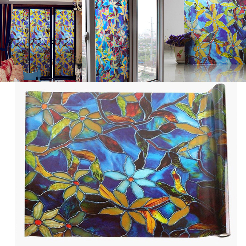 Vinyl Stained Glass Window Film.Us 5 99 40 Off Static Cling Frosted Stained Glass Window Film Orchid Opaque Vinyl Frosted Privacy Film Window Film In Decorative Films From Home