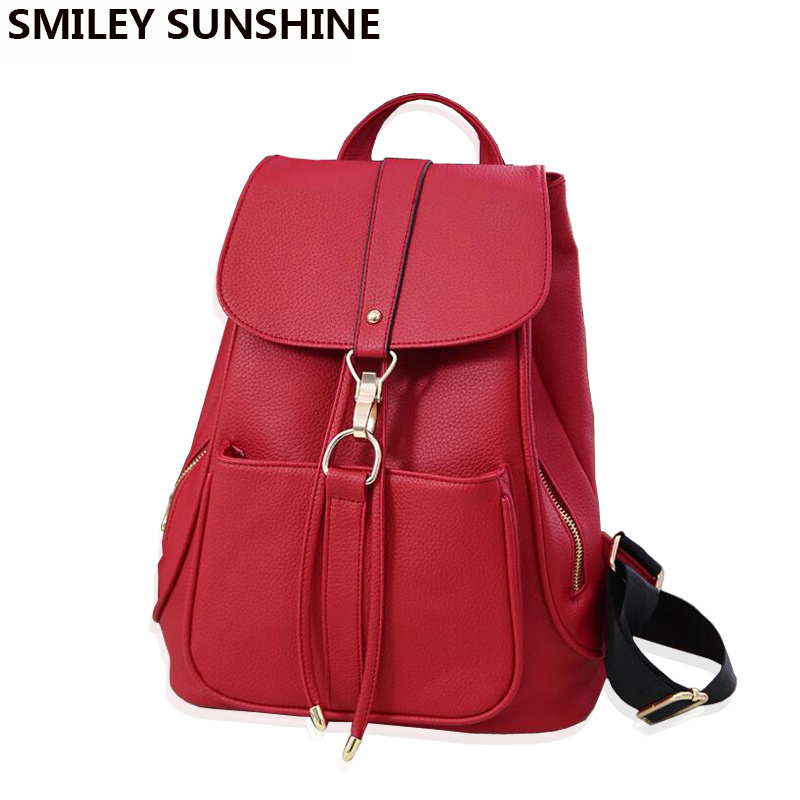 Drawstring Women Leather Backpack Female Korean School Bag Backpacks for Teenage Girls Feminine Backpack Youth sac a dos mochila women backpack mochila backpack for travel sac a dos korean style backpacks for teenage girls high quality bag gift for new year