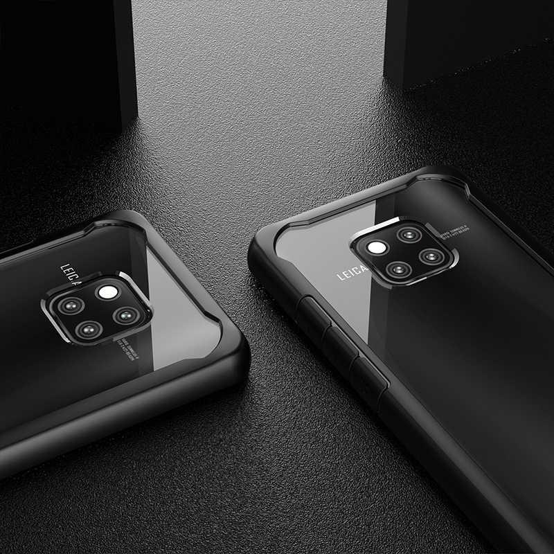 Morbido Bordo In Silicone Per Il Caso di Huawei Compagno di 20 10 Pro P20 Lite Pro Acrilico Trasparente Armatura Shockproof della Copertura della cassa Per HUAWEI compagno di 20 Pro Coque