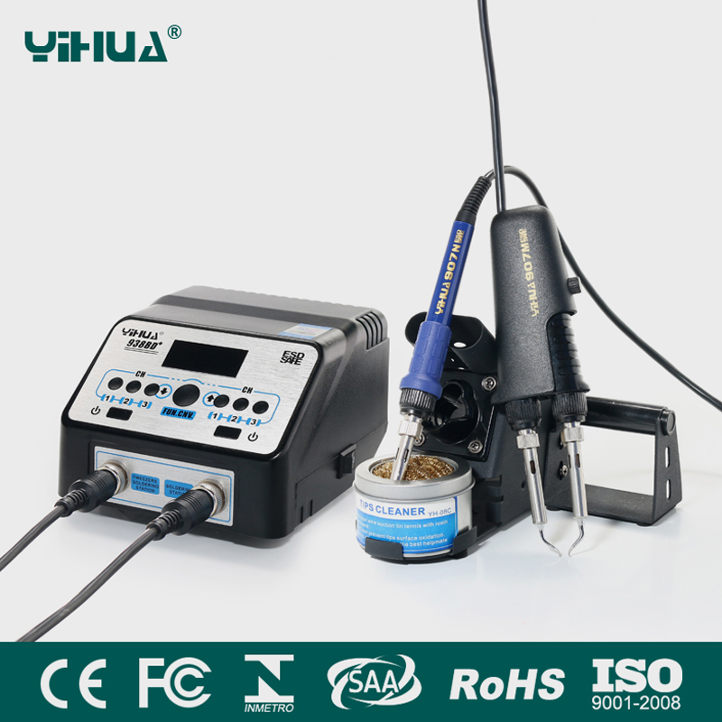 YIHUA 938BD+ SMD Soldering Tweezer Repair Rework Station Electric heating pliers Constant temperature heating soldering station [sa]american pace soldering station tweezer handle