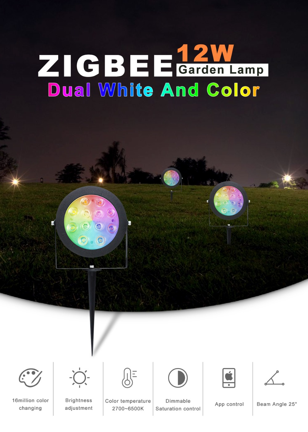 ligacao de luz zigbee zll 12w rgb cct luz conduziu a lampada do jardim ao ar