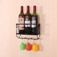 Metal Wall Mounted Creative Wine Rack Metal Iron Wall Hanging Wine Holder Goblet Holder