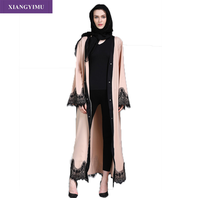 F8809-2 Muslim Lace Splicing Coat Middle East Long Robe Kaftan dubai abayas for women 2