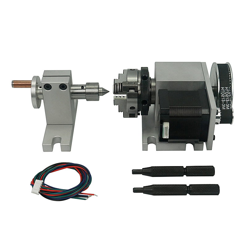 Nema 23 Stepper Motor (4:1) K-50-50mm 3 Jaw Chuck 50mm CNC 4th Axis A Aixs Rotary Axis + Tailstock For Cnc Router