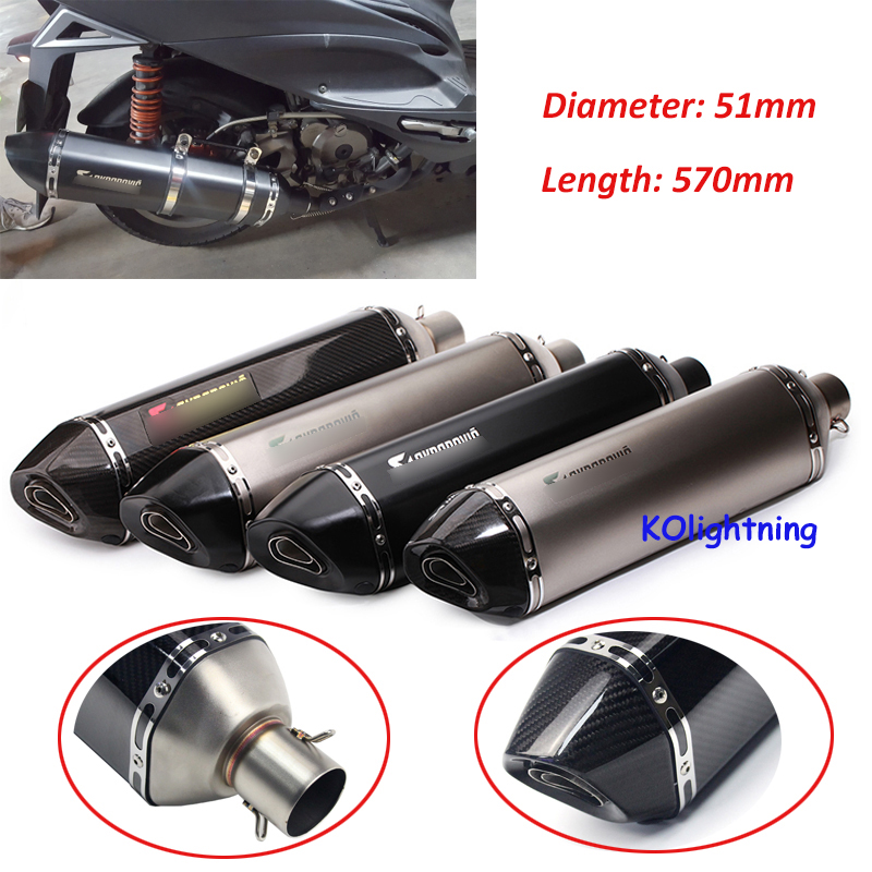 570mm Motorcycle Universal Exhaust Pipe Muffler Silencer Pipe Carbon Fiber Slip 51mm Exhaust Tail Vent Pipe For Yamaha TMAX500 length 360mm id 51mm carbon fiber motorcycle exhaust muffler pipe with silencer case for cb600 mt07 yzf duke fz6 atv dirt bike