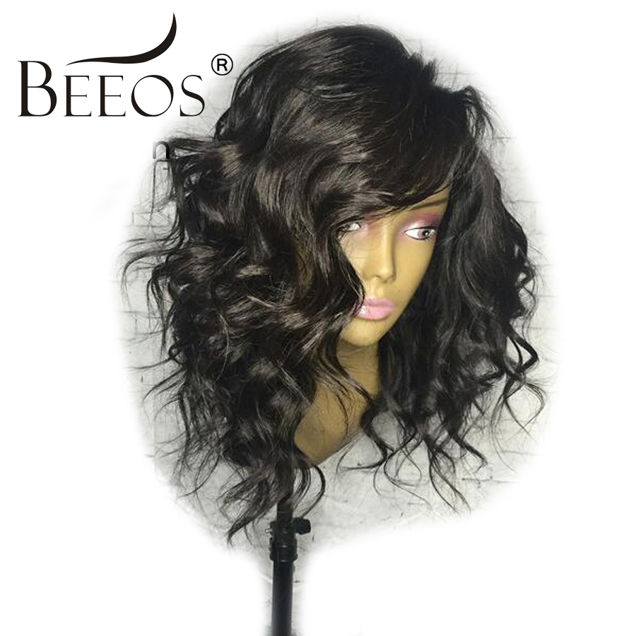 BEEOS Brazilian Full Lace Human Hair Wigs 130% Density Remy Hair Pre Plucked Human Curly Lace Wigs For Women With Baby Hair